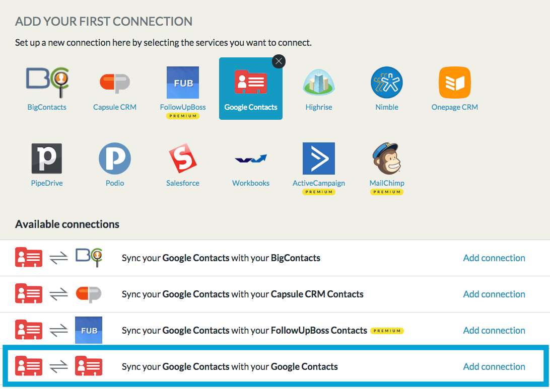 add Google - Google connection